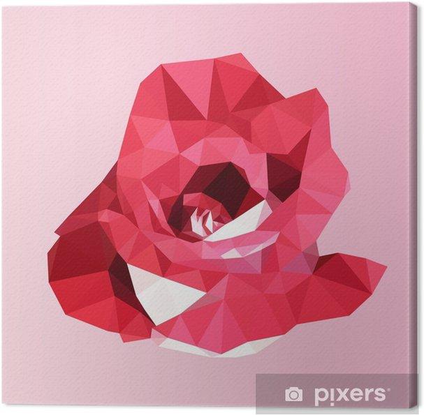 Cuadro en Lienzo Rosa roja poligonal. poli vector de la flor geométrica del triángulo baja - Flores y plantas