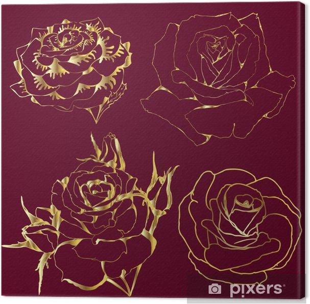 Cuadro en Lienzo Rosas de oro. siluetas de flores sobre un fondo de Borgoña. - Flores