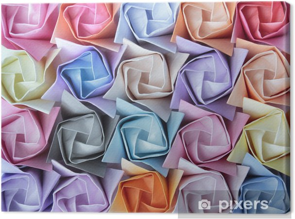 Cuadro en Lienzo Rosas de papel de colores dispuestas como fondo decorativo - Fondos