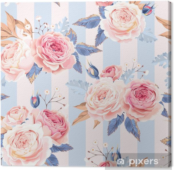 Cuadro en Lienzo Rosas vintage sin costura - Plantas y flores