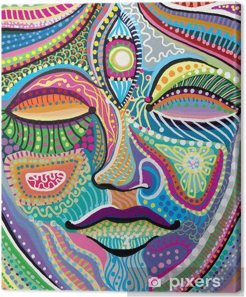 Cuadro en Lienzo Rostro de mujer abstracta con el modelo indio multicolor - Caras