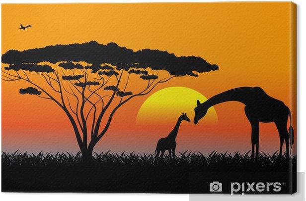 Cuadro en Lienzo Sabana africana un paisaje de la tarde - Temas