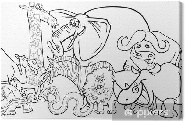 Cuadro En Lienzo Safari Africano Animales De Dibujos Animados Para Colorear
