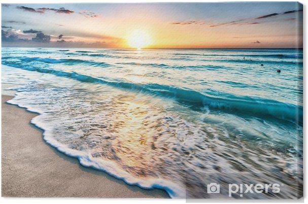 Cuadro en Lienzo Salida del sol sobre la playa en Cancún - Playa y las zonas tropicales
