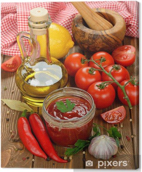Cuadro en Lienzo Salsa de tomate con verduras - Temas