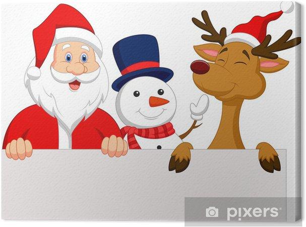 Cuadro En Lienzo Santa Claus, Renos Y Muñeco De Nieve Con