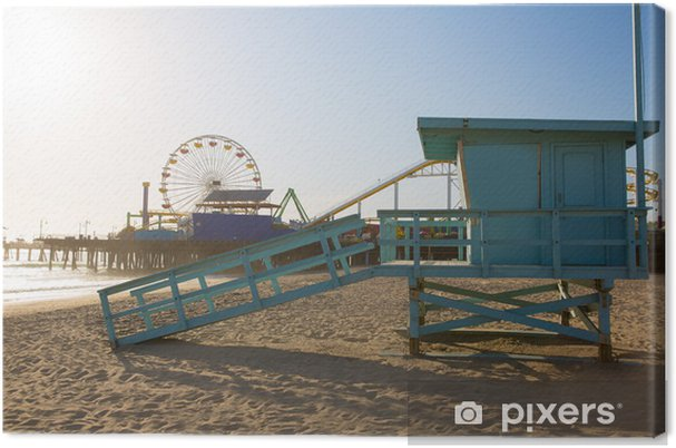 Cuadro en Lienzo Santa Monica torre de salvavidas de playa en California - Ciudades norteamericanas