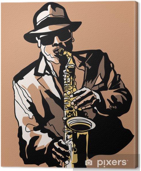 Cuadro en Lienzo Saxofonista - Jazz