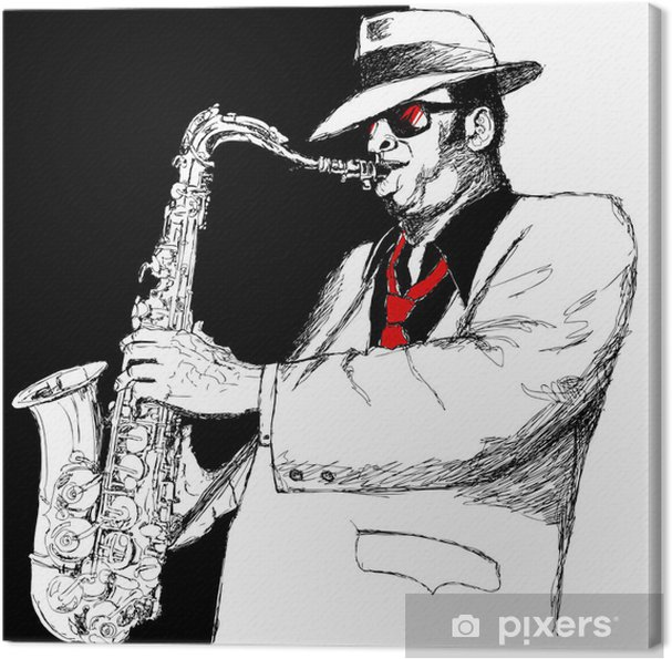 Cuadro en Lienzo Saxophonist - Música