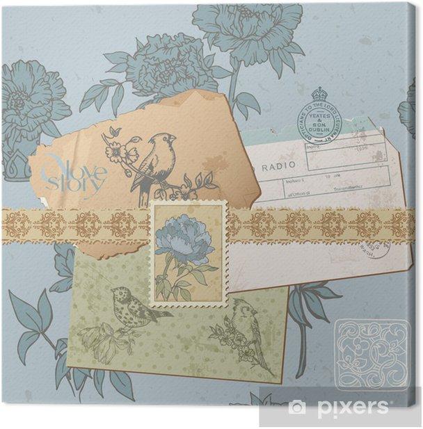 Cuadro en Lienzo Scrapbook design elements - Vintage Bird y Set Peony - en vect - Fondos