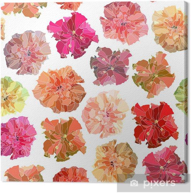 Cuadro en Lienzo Seamless vector hibiscus. - Texturas