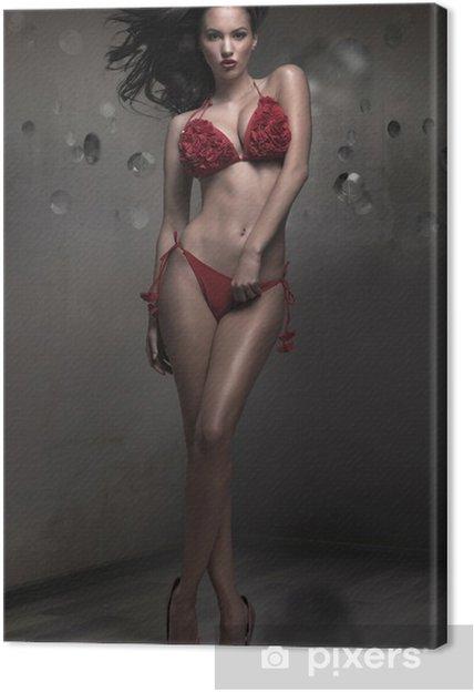 9290ad5c01 Cuadro en Lienzo Señora atractiva con rosa roja sujetador • Pixers ...