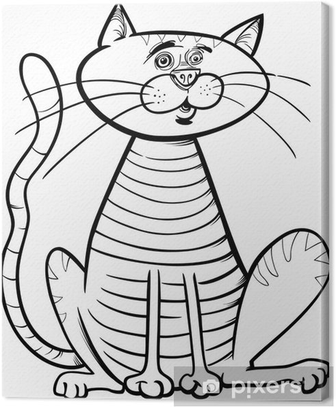 Cuadro En Lienzo Sentado Gato Para Colorear De Dibujos Animados