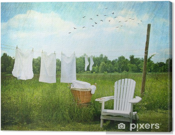 Cuadro en Lienzo Servicio de lavandería secado en tendedero - Casa y jardín