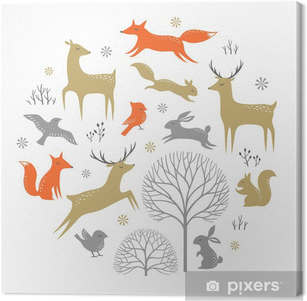 Cuadro en Lienzo Set of winter woodland elements for Christmas design - Destinos