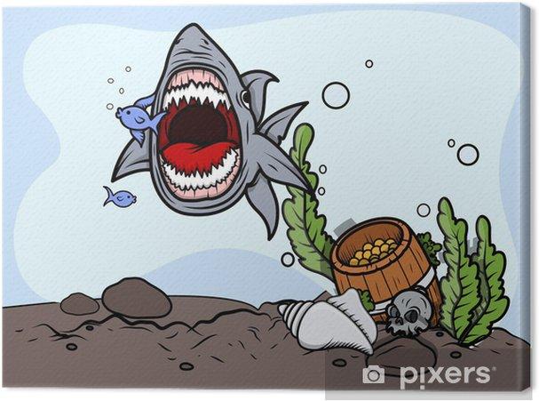 Cuadro en Lienzo Shark captura de peces - ilustración vectorial - Animales marinos
