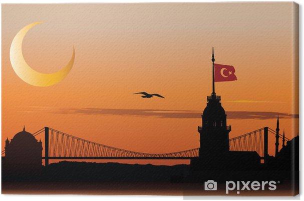 Cuadro en Lienzo Silueta de Estambul al atardecer - Oriente Medio