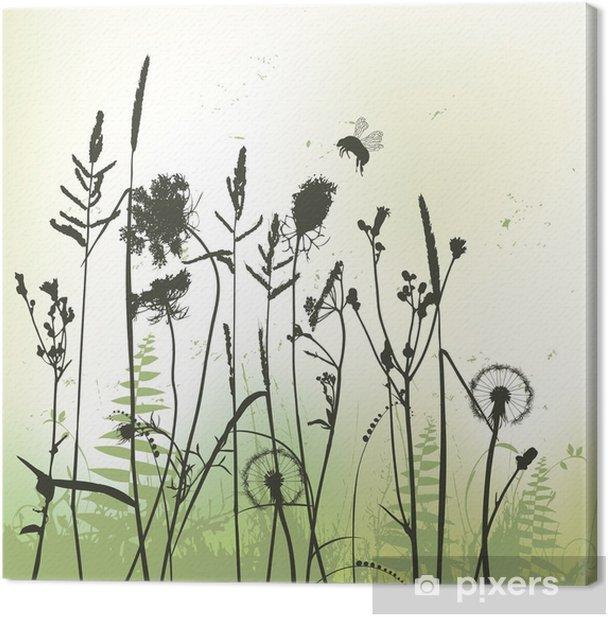 Cuadro en Lienzo Silueta de hierba real con abejorro - vector - Plantas