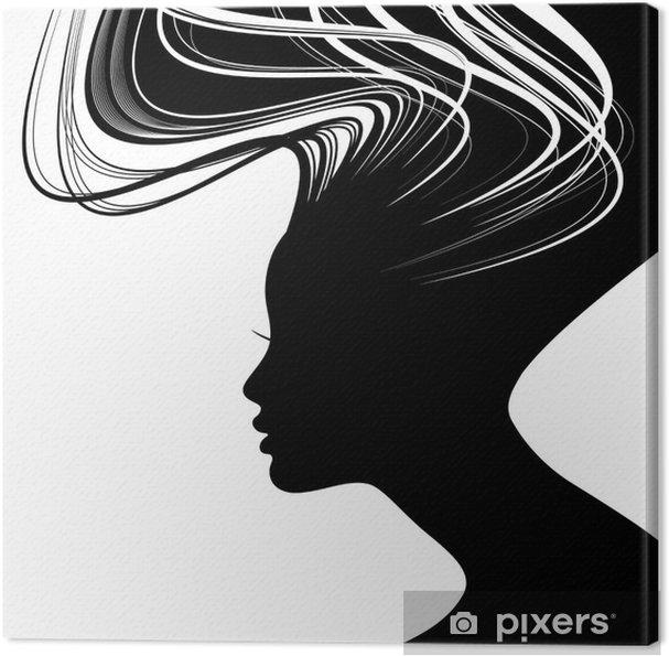 Cuadro en Lienzo Silueta de la mujer cara con el pelo ondulado - Destinos 40b4c5fe08e