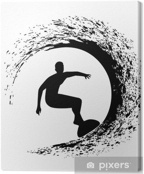 Cuadro en Lienzo Silueta de la persona que practica surf en una ola del mar en el estilo grunge - Vinilo para pared