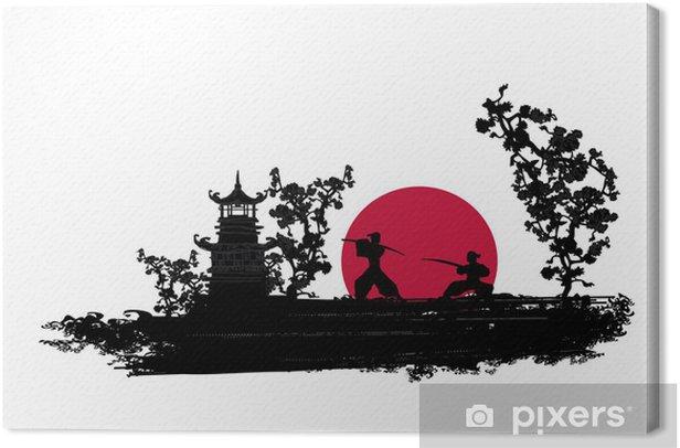 Cuadro en Lienzo Silueta del combatiente japonés Samurai - Estilos