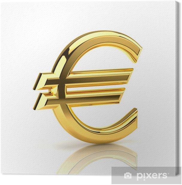 Cuadro en Lienzo Símbolo del euro de oro sobre fondo blanco - Finanzas