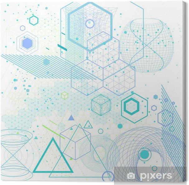 Cuadro en Lienzo Símbolos de geometría sagrada y elementos de fondo - Recursos gráficos