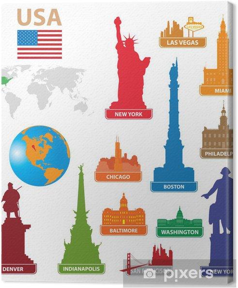 Cuadro en Lienzo Símbolos de la ciudad EE.UU. - Ciudades norteamericanas