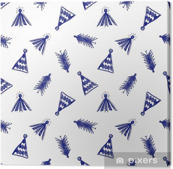 Cuadro en Lienzo Sin fisuras vector patrón con los abetos. Azul y blanco Resumen de temporada de invierno con árboles dibujados a mano lindo de abeto en el papel Ilustración gráfica a cuadros. Serie de patrones de vectores sin fisuras de invierno. - Recursos gráficos
