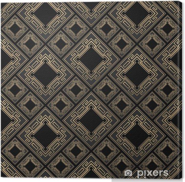Cuadro en Lienzo Sin patrón en estilo art deco. azulejo negro y dorado. azulejos de diamantes. fondo de lujo. - Recursos gráficos