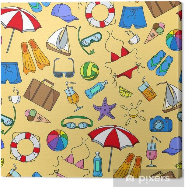 Cuadro en Lienzo Sin patrón sobre el tema de las vacaciones de verano en los países cálidos, iconos de colores simples sobre fondo amarillo - Hobbies y entretenimiento