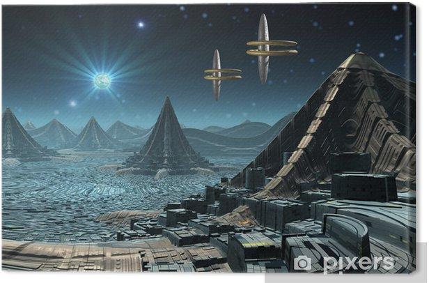 Cuadro en Lienzo Skyline de una ciudad futurista en un planeta alienígena - Espacio exterior