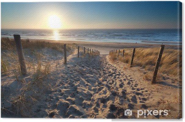 Cuadro en Lienzo Sol sobre ruta de acceso a la playa en el mar del Norte - Destinos