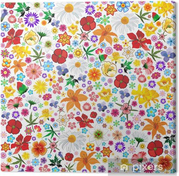 Cuadro en Lienzo Spring Flowers Pattern Tile-Fiori Primavera Sfondo-Vector - Flores