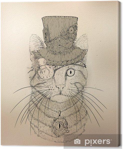 Cuadro en Lienzo Steampunk Cat Vintage Style - Steampunk