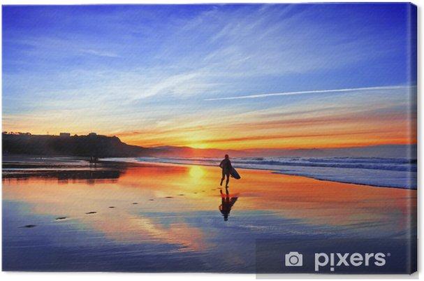 Cuadro en Lienzo Surfista en la playa al atardecer - Temas