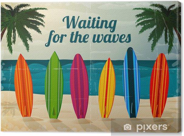 Cuadro en Lienzo Tablas de surf de vacaciones en la playa del océano - Estilos