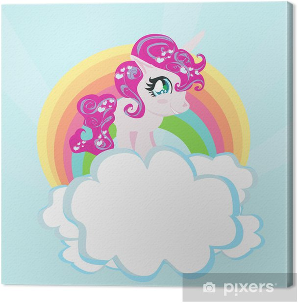Cuadro en Lienzo Tarjeta con un arco iris lindo del unicornio en las nubes. - Temas