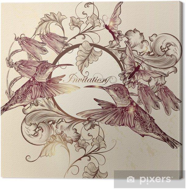 Cuadro en Lienzo Tarjeta de invitación elegante del vector en el estilo vintage - Aves