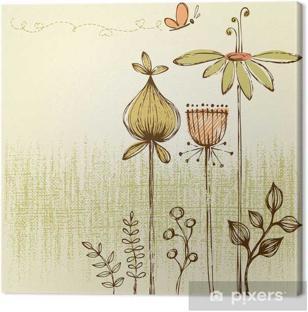 Cuadro en Lienzo Tarjeta floral retro - Flores