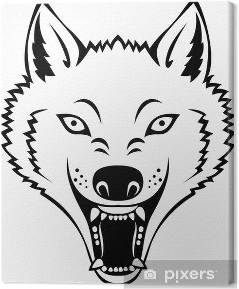 Cuadro En Lienzo Tatuaje De La Cabeza Del Lobo Enojado Pixers