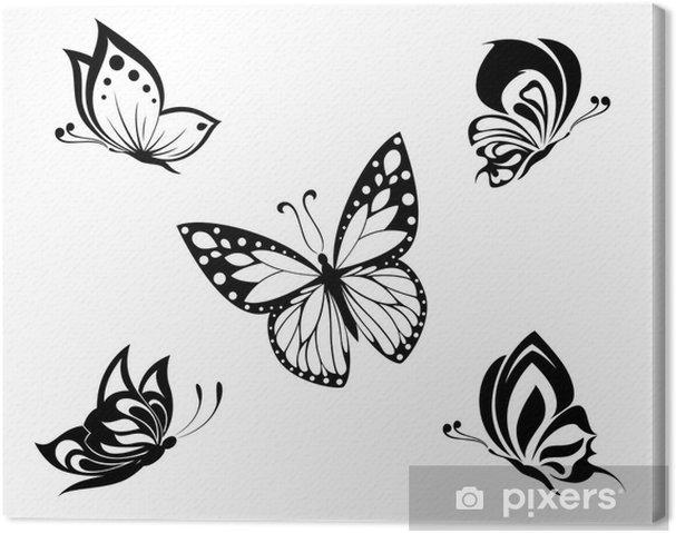 Cuadro En Lienzo Tatuaje En Blanco Y Negro Mariposas Establecidos