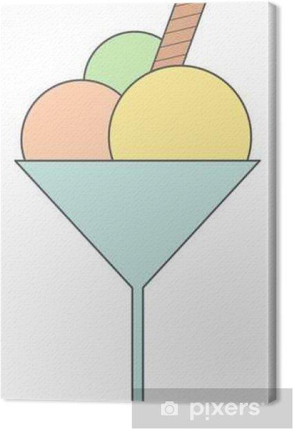 Cuadro en Lienzo Taza de crema de ilustración vectorial de dibujos animados lindo de hielo aislado en blanco background____ - Comida