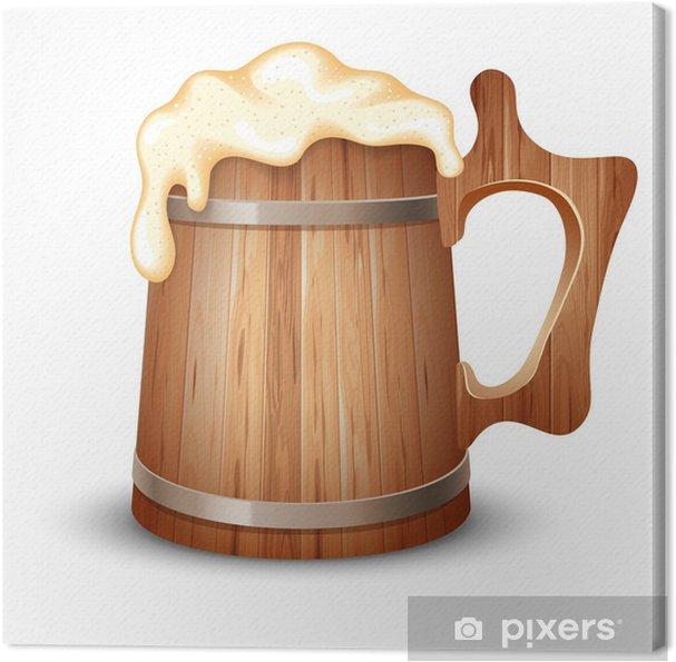 Cuadro en Lienzo Taza de madera de la cerveza - Alcohol