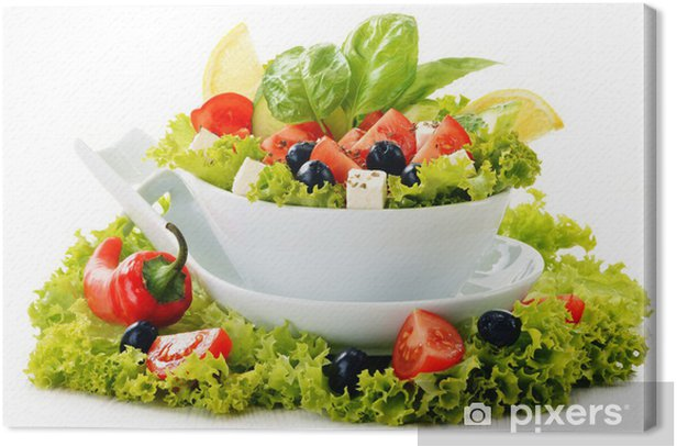 Cuadro en Lienzo Tazón de verduras ensalada aislado en blanco - Vegetales