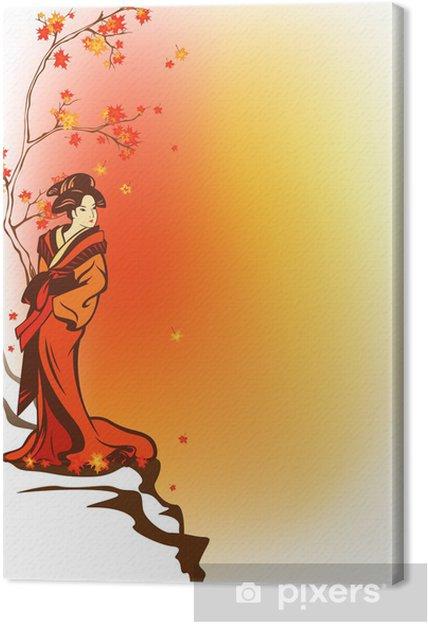 Cuadro en Lienzo Tema de fondo de otoño japonés con geisha - Estilos
