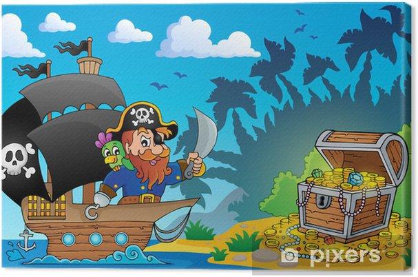 Cuadro en Lienzo Tema de pirata con cofre del tesoro 2 -