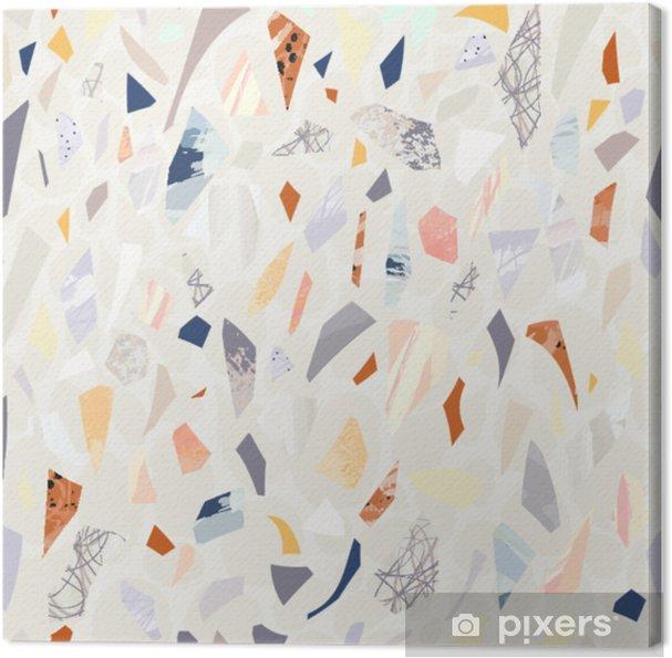 Cuadro en Lienzo Terrazo de patrones sin fisuras. colores vibrantes. formas texturizadas papel picado. diseño dibujado a mano. - Recursos gráficos
