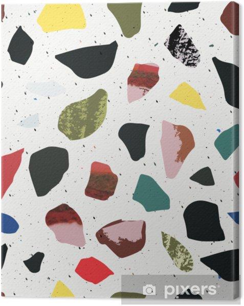 Cuadro en Lienzo Terrazo de patrones sin fisuras. colores vibrantes y ácidos mármol. - Recursos gráficos