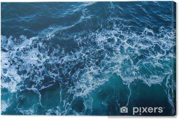 Cuadro en Lienzo Textura azul del mar con olas y la espuma - Recursos gráficos